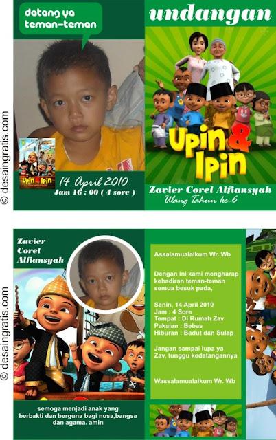 Contoh Undangan Ulang tahun anak Ipin Upin