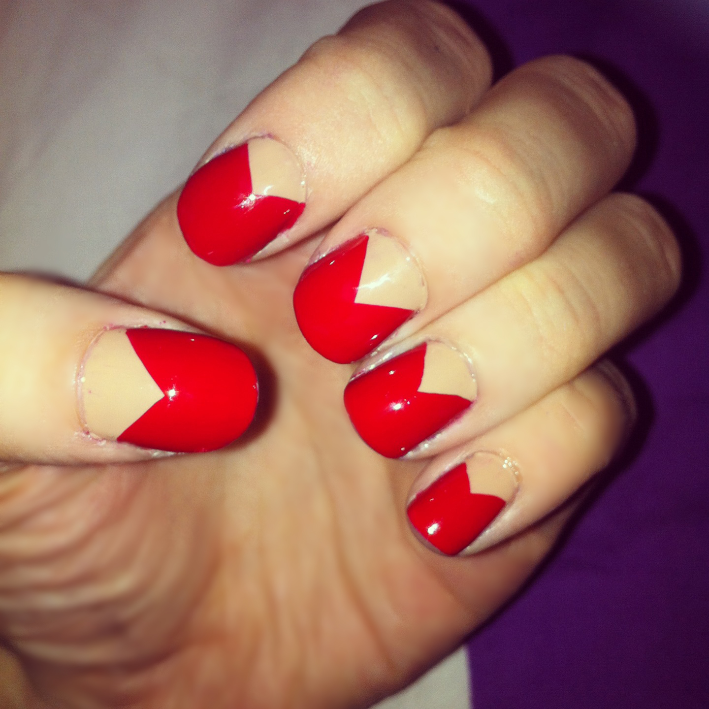 Red Nails: ChuNails: Nude And Red Nails