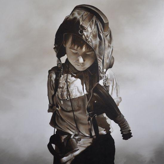 michael peck pinturas hiper-realistas crianças guerra morte surreal
