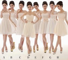Eight-Design Cream Bridesmaids Midi Dress