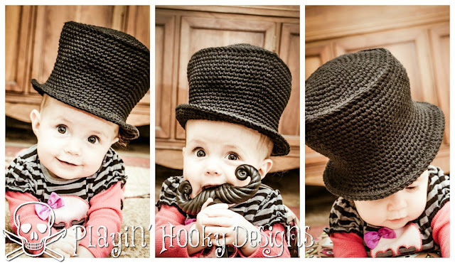 Playin Hooky Designs Baby Top Hat Free Crochet Pattern