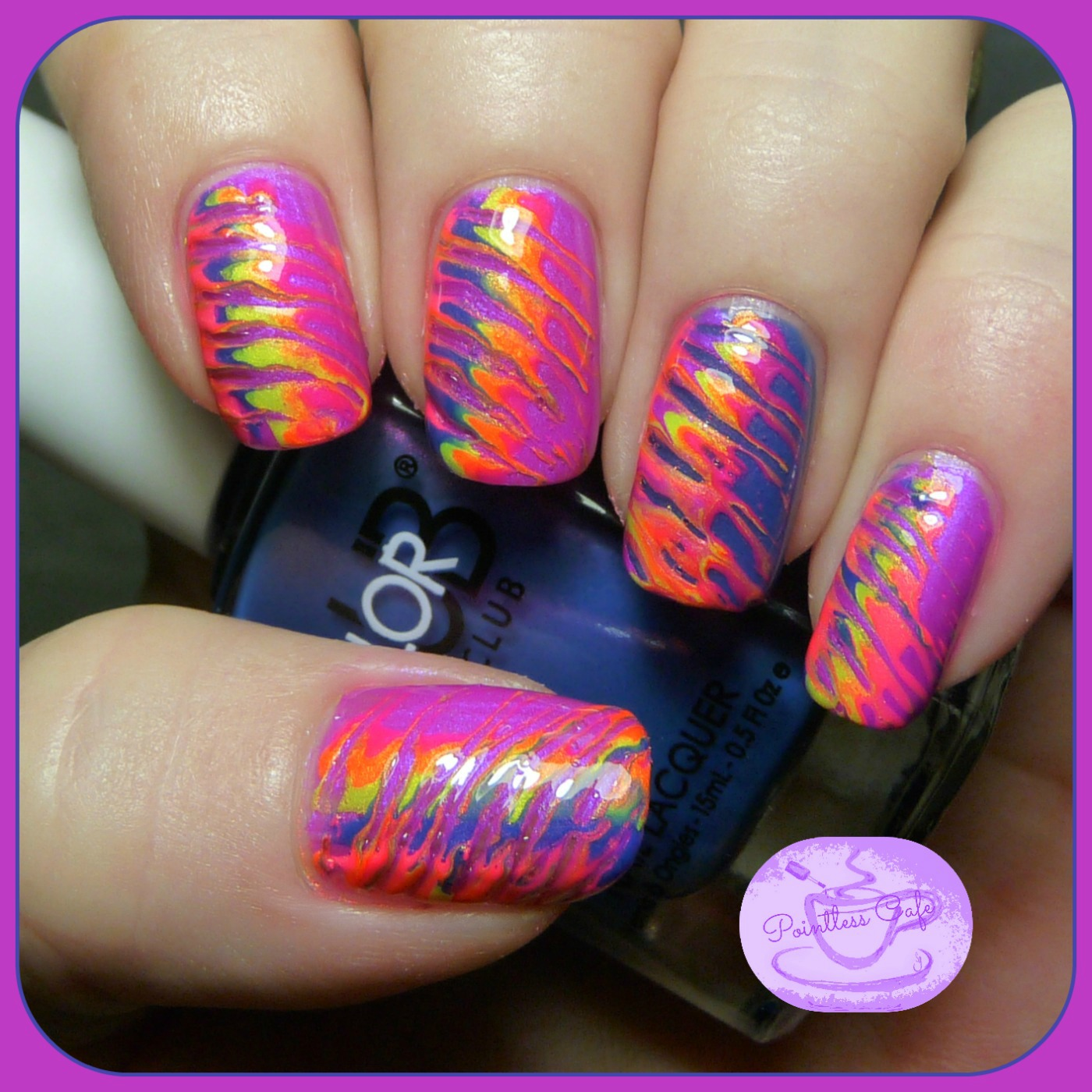 Color club poptastic nail art summer 2014 collection pointless neon toothpick marble nail art prinsesfo Gallery