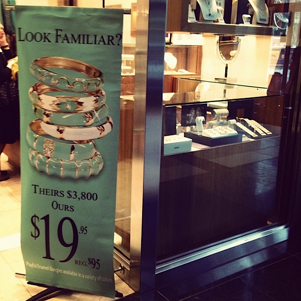 Knockoff Tiffany & Co. enamel bracelets, not counterfeit