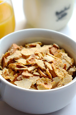 bowl of homemade corn flakes cereal