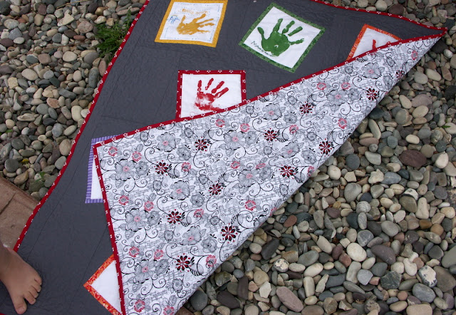 hand print quilt backing and binding