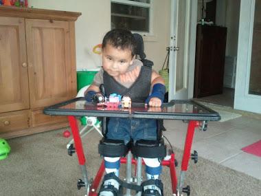 Gabriel 20 months old in stander
