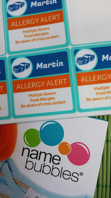 Name Bubbles food allergy labels giveaway
