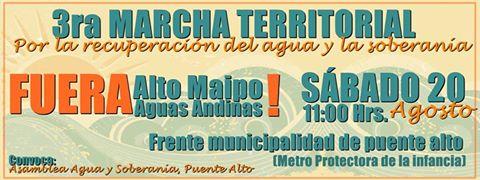 PUENTE ALTO: 3ra MARCHA TERRITORIAL, POR LA RECUPERACIÓN DEL AGUA Y LA SOBERANIA