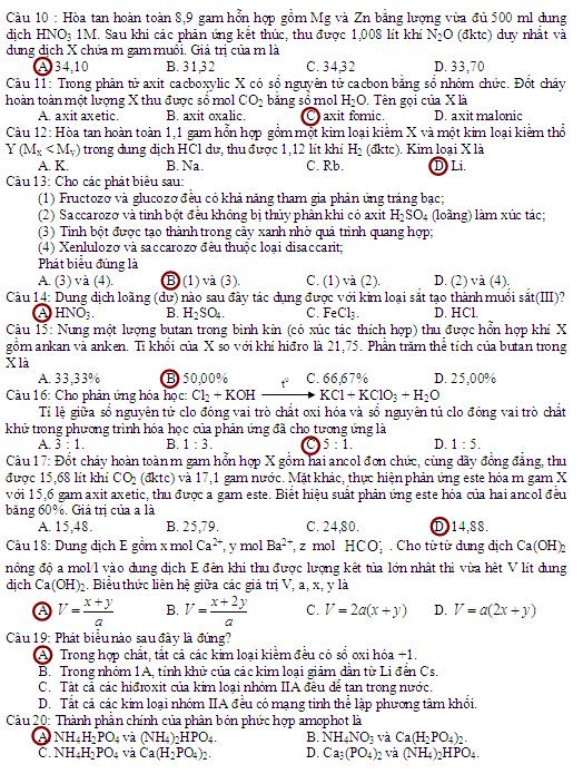 đáp án môn hóa cao đẳng khối a va b năm 2012