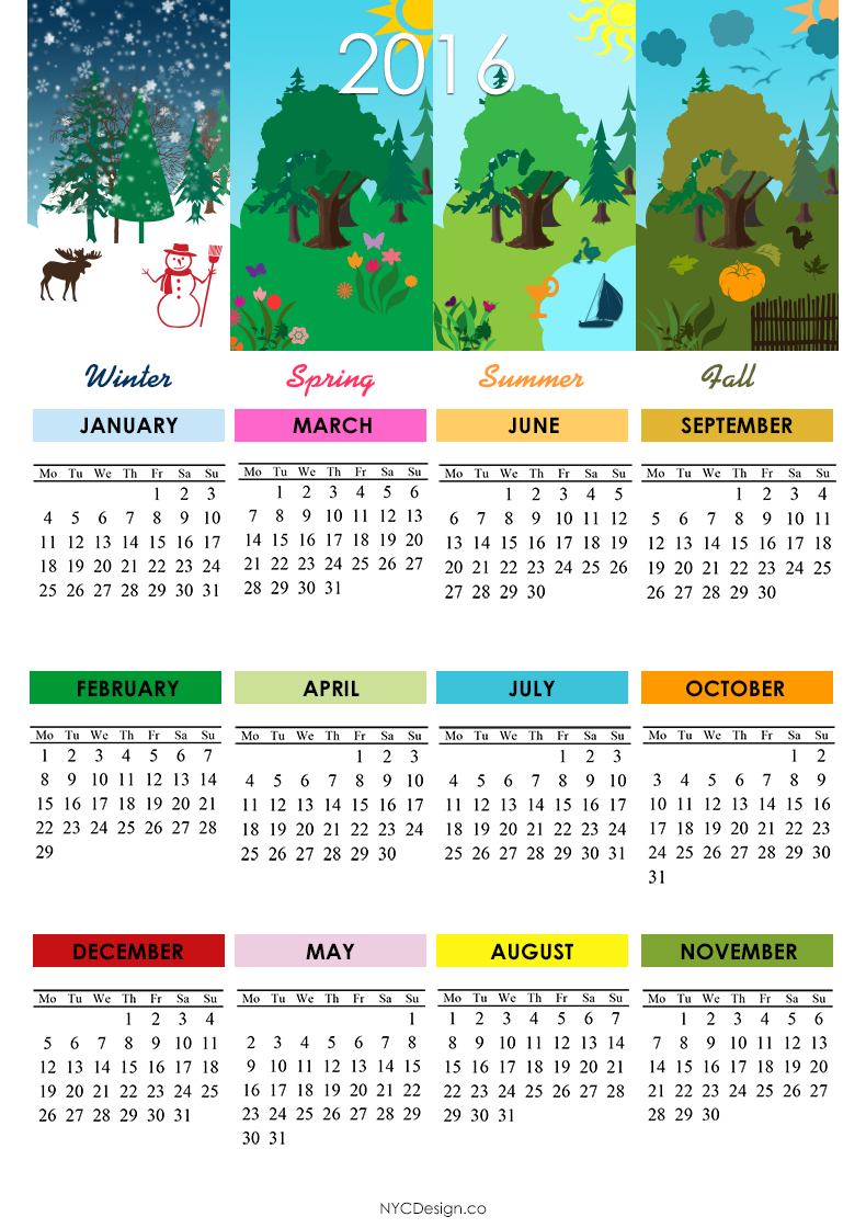 2016 Calendar Printable - 4 Seasons, 4 Season Calendars