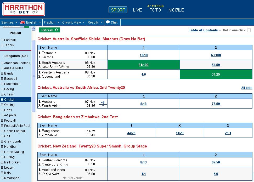 Marathonbet Cricket Screen