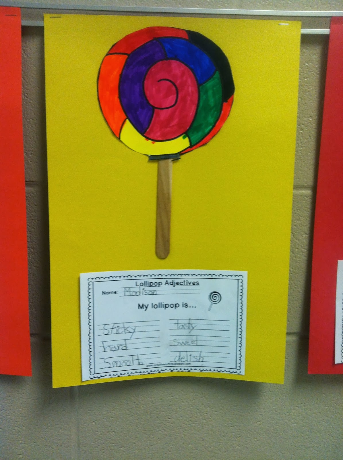 Mrs wheeler 39 s first grade tidbits adjectives for Chart paper craft work