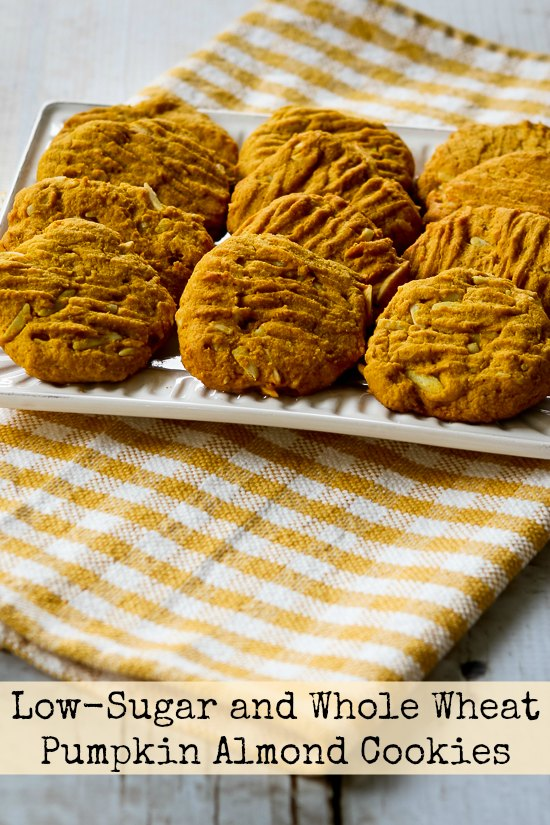 Low-Sugar and Whole Wheat Pumpkin Almond Cookies (with Coconut Oil) found on KalynsKitchen.com