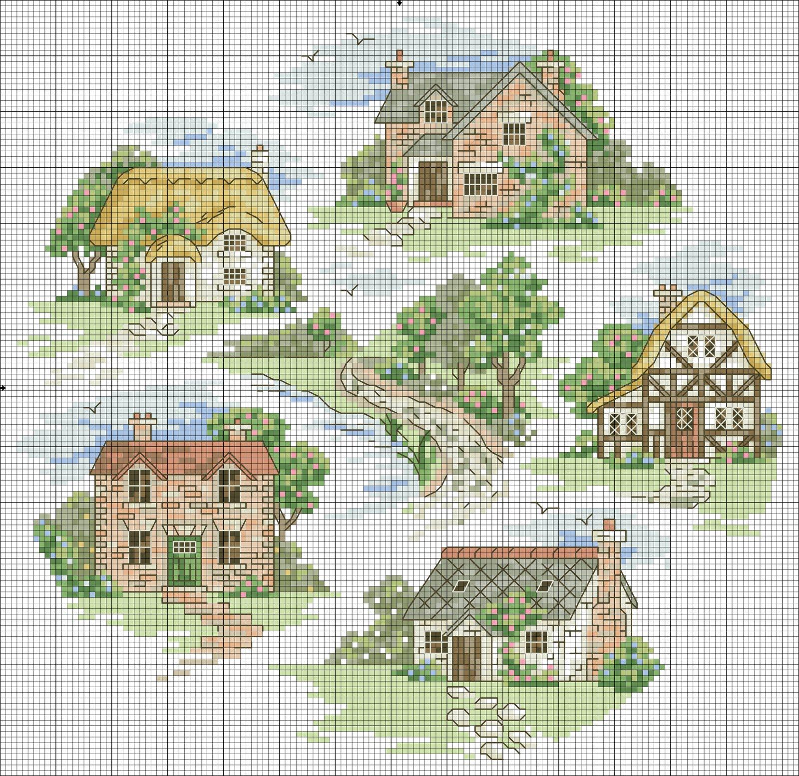 Вышивка крестом дом милый дом схема 43