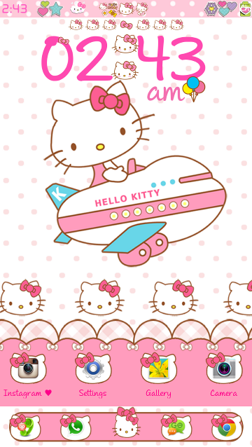 Pretty Droid Themes: Hello Kitty Travel Go Launcher Theme