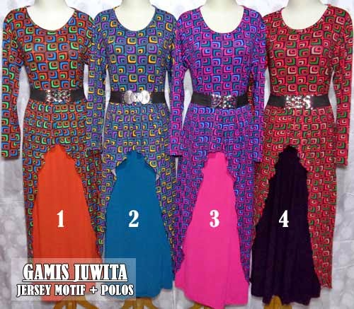 Model baju gamis muslim modern dengan motif cantik