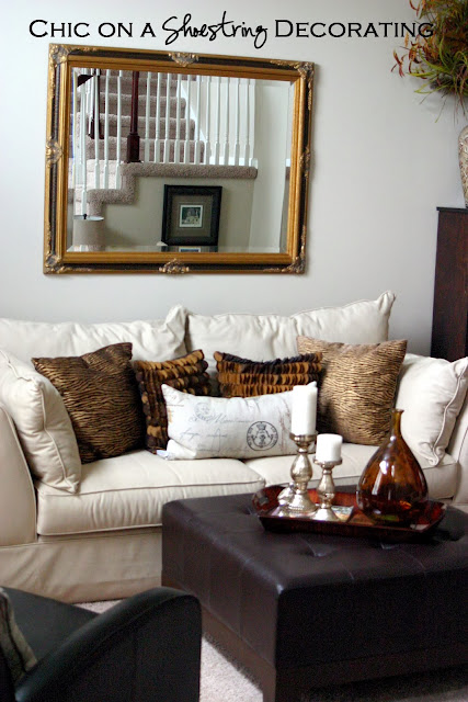 Chic on a Shoestring Decorating blog living room makeover, brown square ottoman