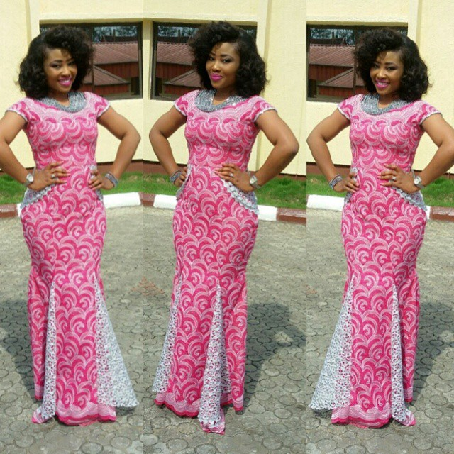 Beautiful Lace Material Sewn into Long Gown Aso Ebi Style - Debonke ...