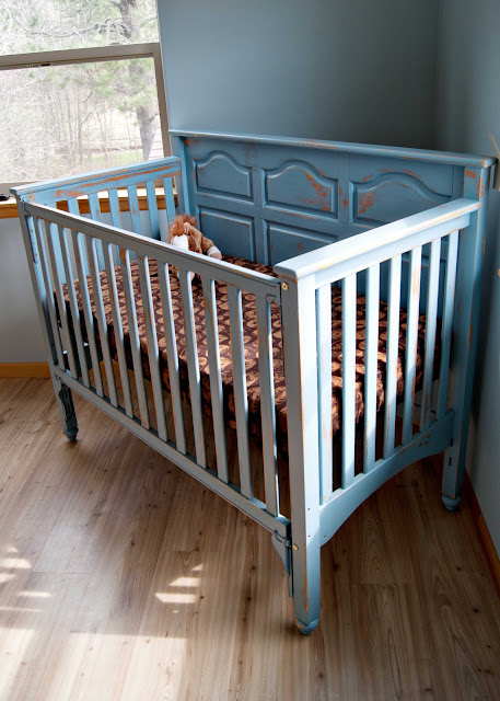 Crib makeover using homemade chalk paint