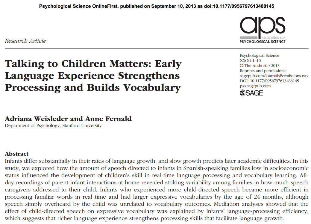 infant parent interactions essay Effects of parent-child interactions on language development in children with autism by amy gamber bs.