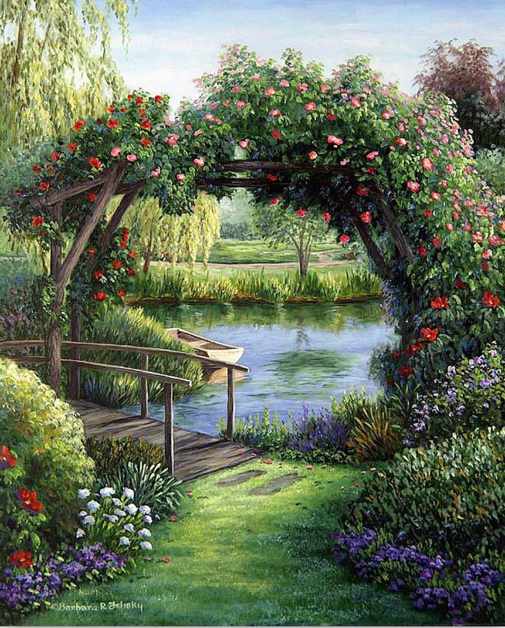 Pintura moderna y fotograf a art stica cuadros de - Oleos de jardines ...