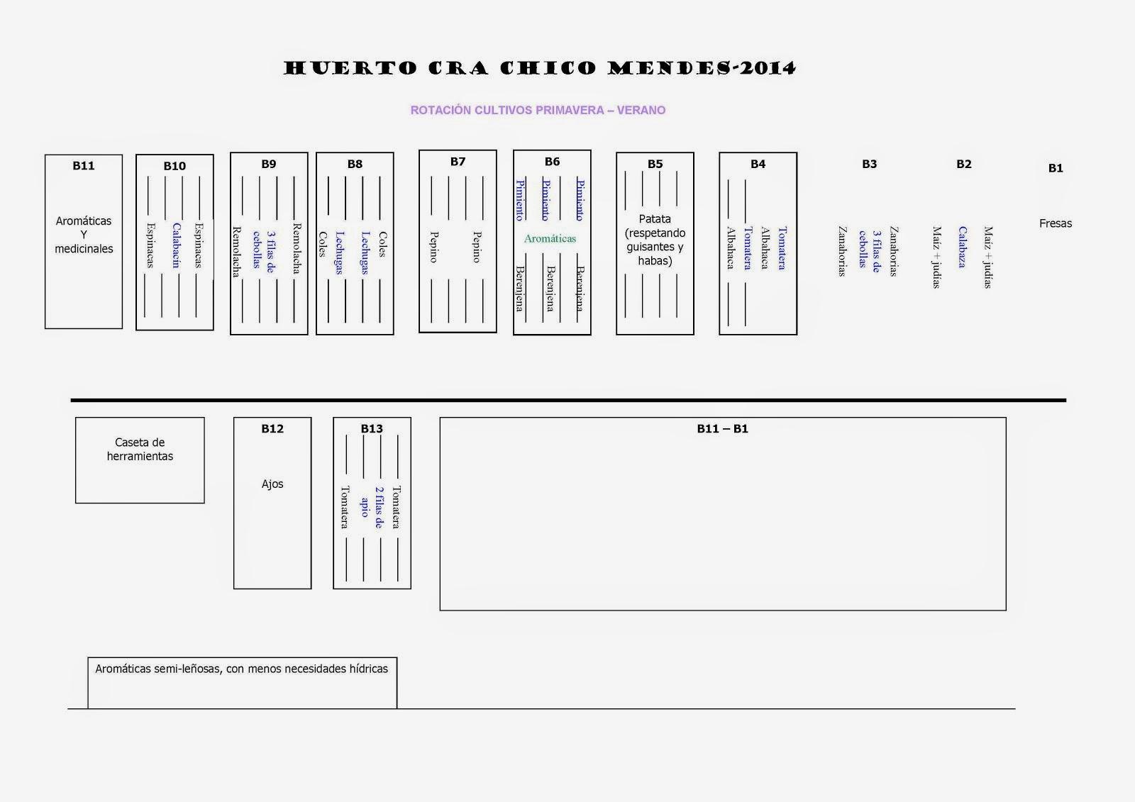 PLANIFICACION DEL HUERTO PRIMAVERA 2014