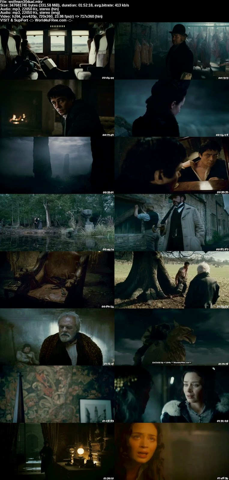 The Wolfman 2010 Dual Audio Hindi Eng UNRATED BRRip 300mb, the wolfman 2010 hindi dubbed 480p brrip 300mb free download or watch online at world4ufree.ws