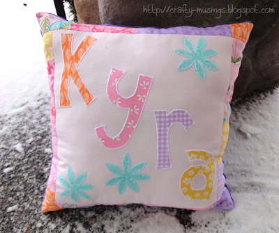 Kyra's pillow, front view