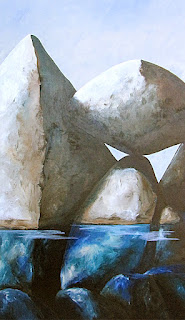 Painting:  Balanced Boulder Again.  Artist:  Pamela Hunt Lee