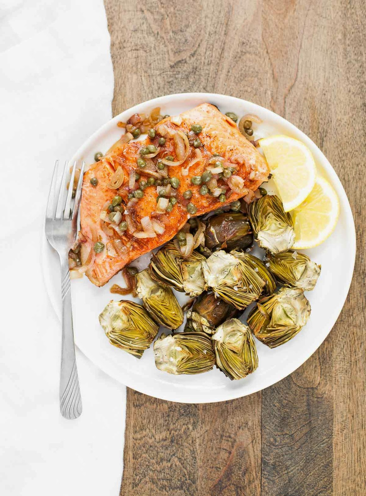 Pan-Seared Salmon with Capers and Baby Artichokes | acalculatedwhisk.com A delicious paleo meal that takes less than 30 minutes to make!