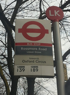 Bus stop on Rossmore Road, London NW1