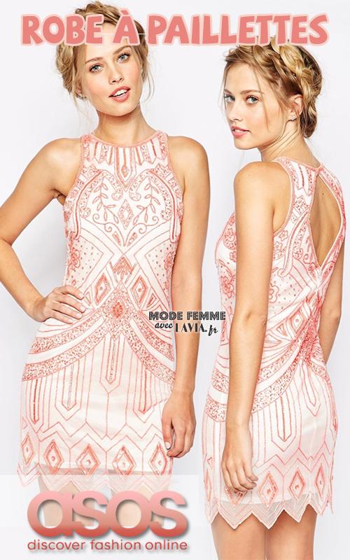 Robe perlée à paillettes rose