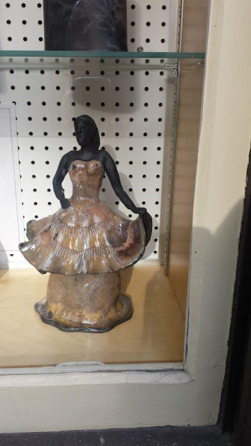 Raku pottery lady sculpture on display at Shadbolt Center in Burnaby BC