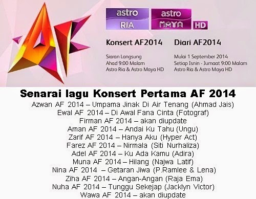 Lagu Akademi Fantasia AF 2014 Konsert Minggu Pertama, Senarai Lagu AF 2014 Konsert Minggu 1, Konsert pengenalan peserta Akademi Fantasia AF 2014