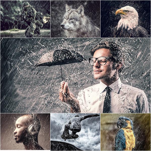 اكشنات فوتوشوب | تاثير تساقط الامطار 2015