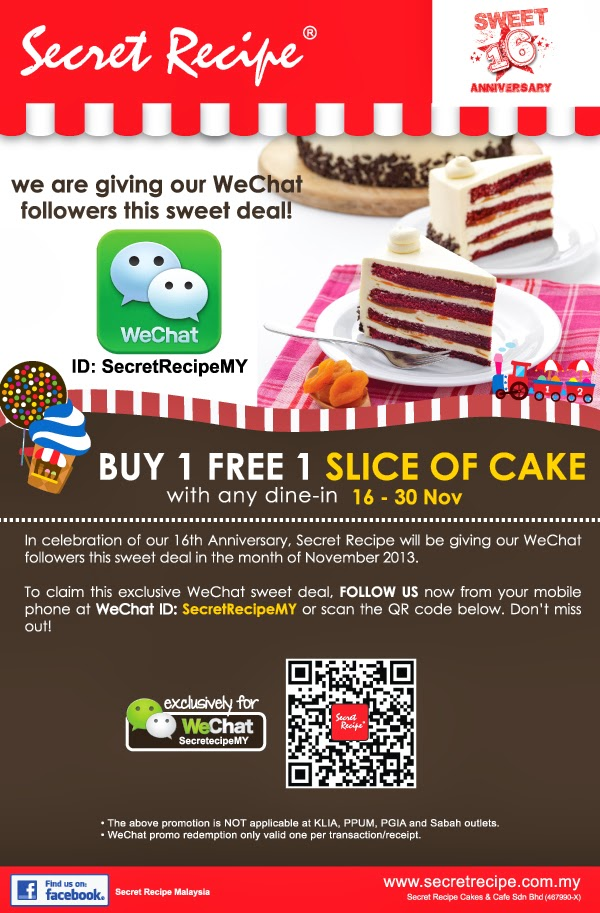 Buy 1 Free 1 Slice Of Cake with any dine-in