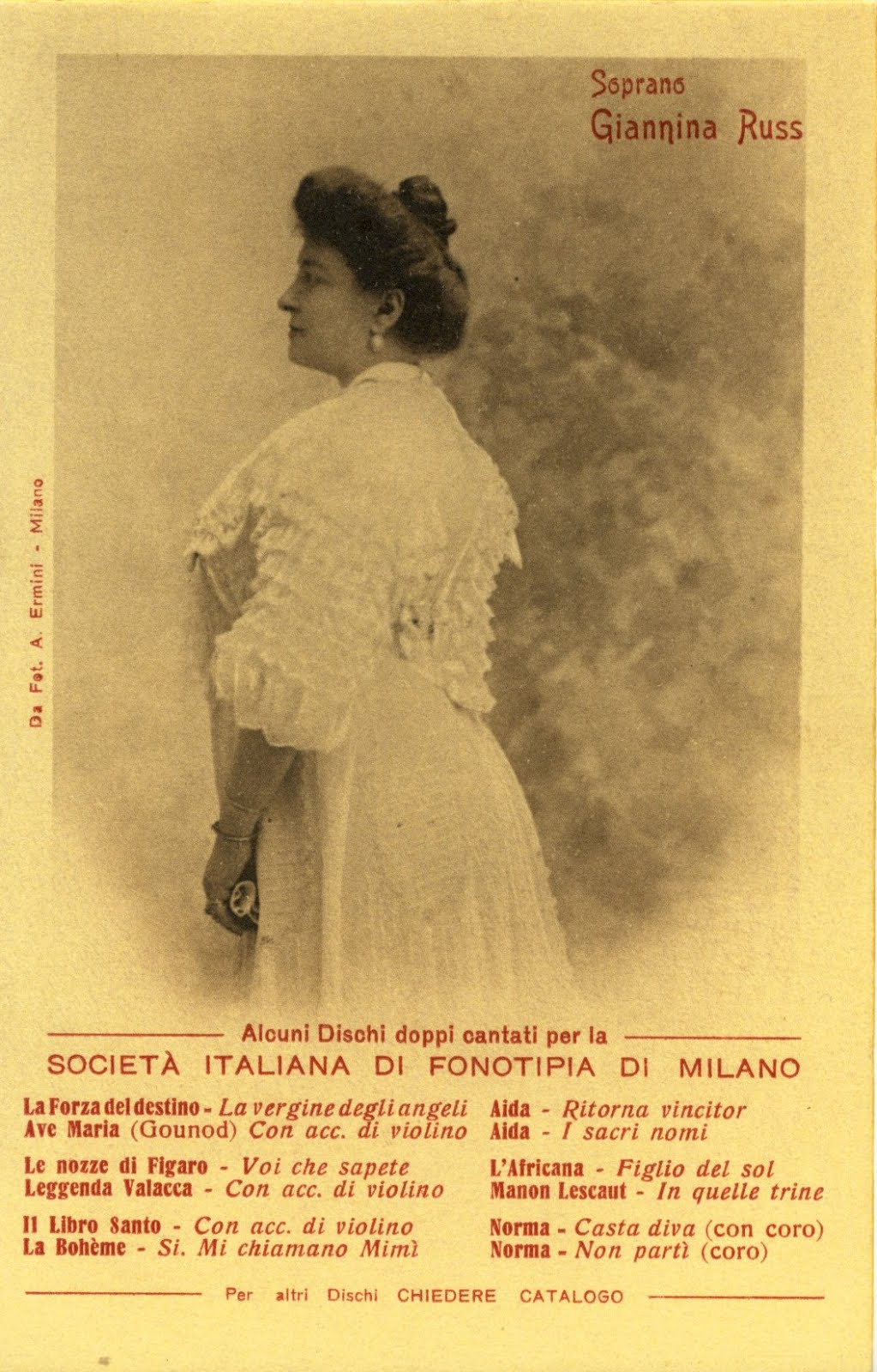 GREAT ITALIAN SOPRANO GIANNINA RUSS (1873 1951) CD SOLD