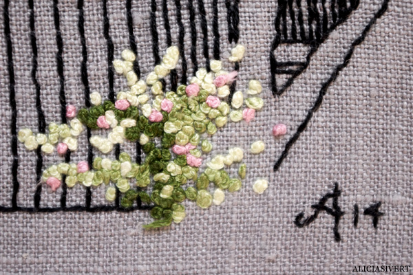 aliciasivert, alicia sivert, alicia sivertsson, broderi, embroidery, needlework, handicraft, craft, hantverk, handarbete, konst, art, franska knutar, french knots, gotland, hus, house, nore