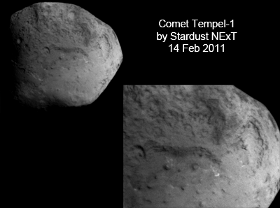 Detail of Comet Tempel-1, picture taken by Stardust NExT on 14 Feb. 2011. NASA, 2011.
