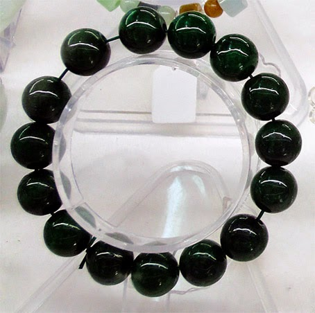 Dark green natural jadeite bead ball stretchy bracelet handmade