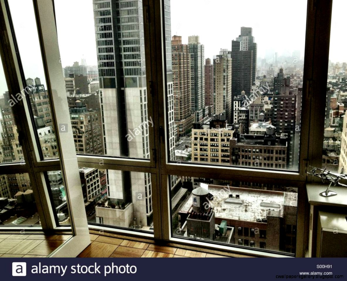 View Of Lower Manhattan Out The Window Of A Luxury High rise Stock
