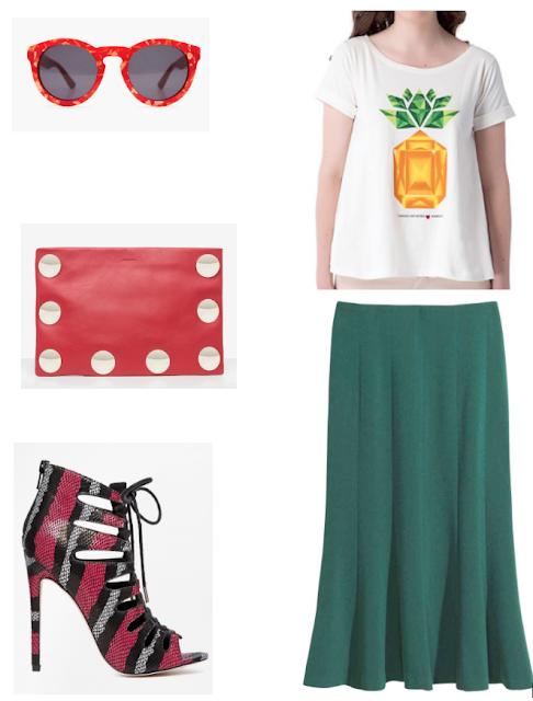 Natalie Joos copiando su estilo camiseta piña estampada -falda midi-