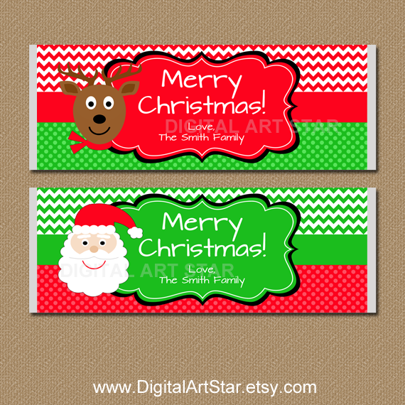 personalized Christmas chevron candy labels