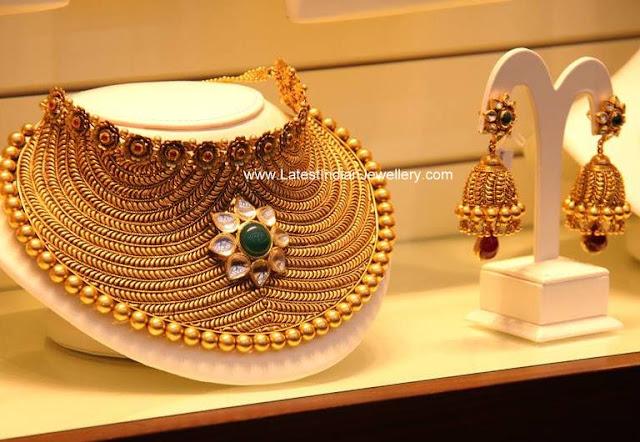 Gold Bridal Choker Necklace