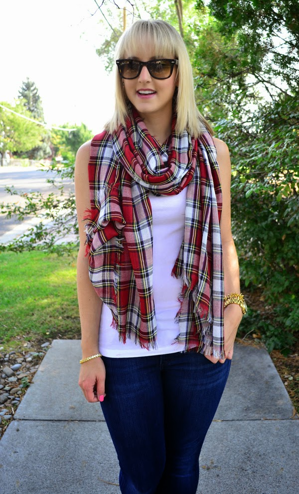 plaid scarf, fashion blogger, style blog, skinny jeans, shoemint shoes, old navy tank