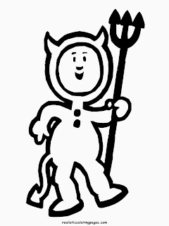 devil costume happy halloween coloring pages images