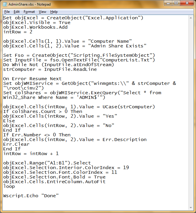 Cloud On Prem Solutions Vbs Script To Verify If The Admin Share