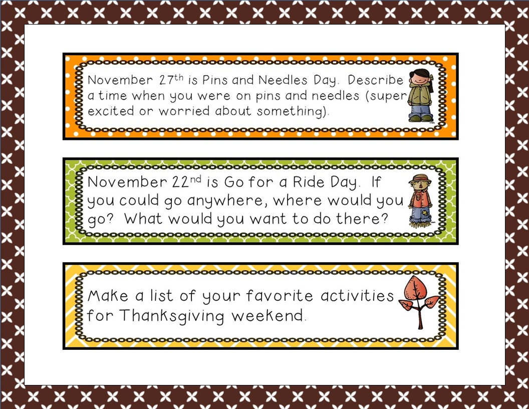 http://www.teacherspayteachers.com/Product/Writing-Prompts-for-November-1496225