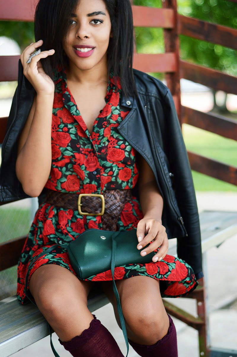 Miami Fashion Blogger Anais Alexandre of Down to Stars in a Mink Pink dress and a Forever 21 leather jacket with Target socks and Dolce Vita boots
