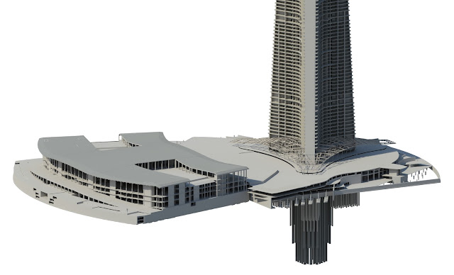 Model of the base and foundations of Kingdom Tower, world's tallest building under construction in Jeddah, Saubi Arabia